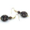 Earrings in Chalcedony and Avventurina Murano Glass