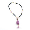 Necklace in Opalin glass pink color